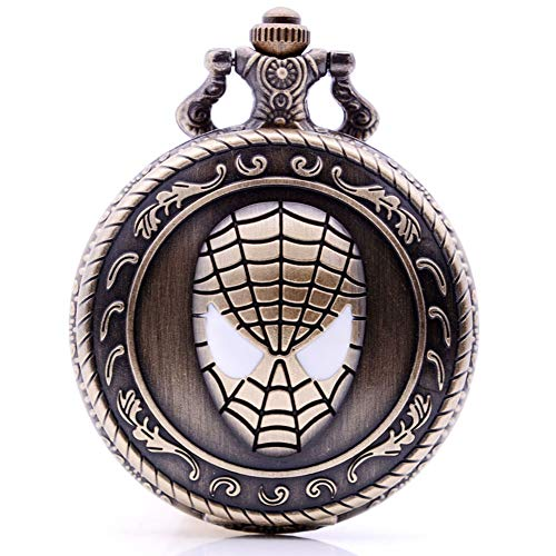 Antique Quartz Pocket Watch Cosplay Super Hero Spiderman Mask Analog Pendant Mens Necklace Chain Kids Christmas Birthday Gifts ()