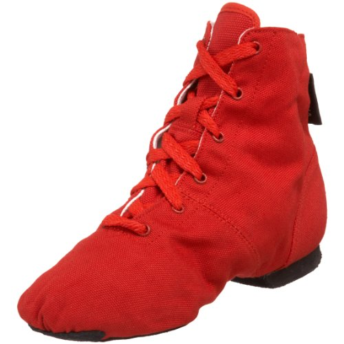 SANSHA Soho Lace-Up Jazz Shoe,Red,15 M US Women's/11 M US Men's