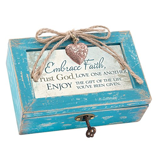(Cottage Garden Embrace God Enjoy the Gift Teal Wood Locket Jewelry Music Box Plays Tune How Great Thou Art)