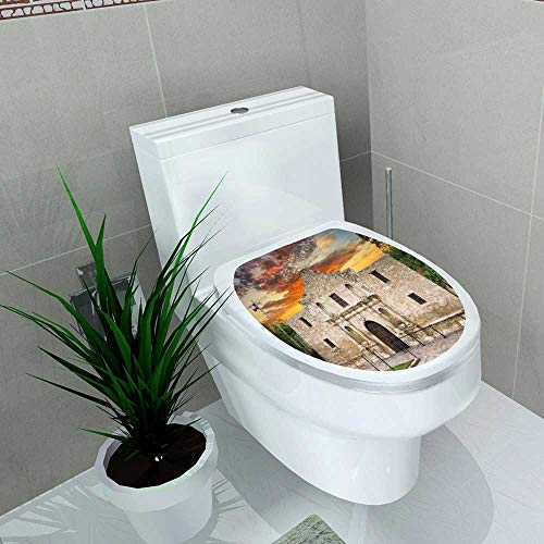 - Auraise-home Decoration Bathroom Toilet Cover Sticker Exterior View of The Historic Alamo shortly After Sunrise for Restroom Wall Decals W14 x L14