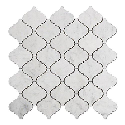 Italian White Carrara Marble - Diflart Italian White Carrara Marble Mosaic Tile Polished Pack of 5 (Arabesque)