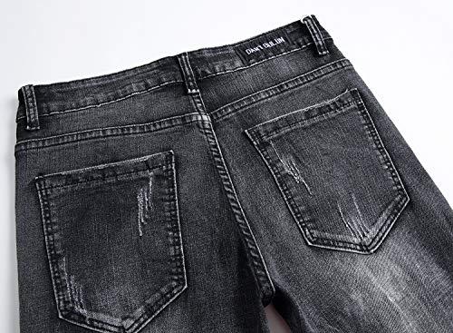 Strappati Working Jeans Per Con Skinny Pants Uomo Distrutti Distressed Fori Black qngxnR5wY
