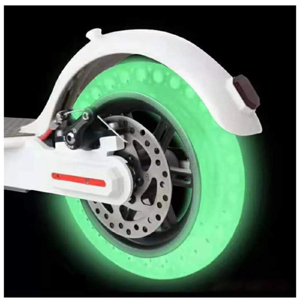 Aeanm Electric Scooter Solid Tire, Replacement Luminous Solid Tires Explosion-Proof Tire Replace for Xiaomi Mijia M365 Electric Skateboard Scooter Non-Pneumatic Vacuum Wheel (White)