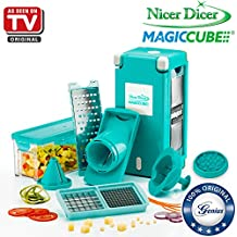 Nicer Dicer Magic Cube by Genius | 13 pieces | Fruit and vegetable slicer | As seen on TV (Teal)