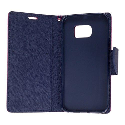 'Elegante funda tipo libro flip case Wallet paraSamsung Galaxy S7Edge Funda Funda Carcasa Cover Book Case Rosa de color azul