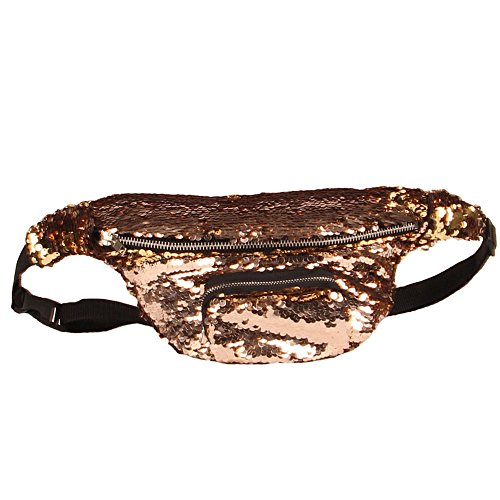 Hot Sales!! ZOMUSA Women Outdoor Sports Casual Double Color Sequins Waist Pack (B)