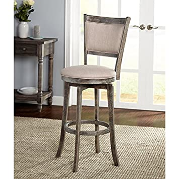 Simple Living French Country Grey Rubberwood Fabric 30-inch Swivel Bar Stool