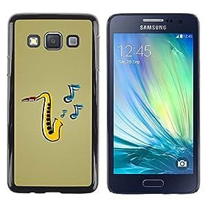 Paccase / Dura PC Caso Funda Carcasa de Protección para - Jazz Music Saxophone Instrument Art Painting - Samsung Galaxy A3 SM-A300
