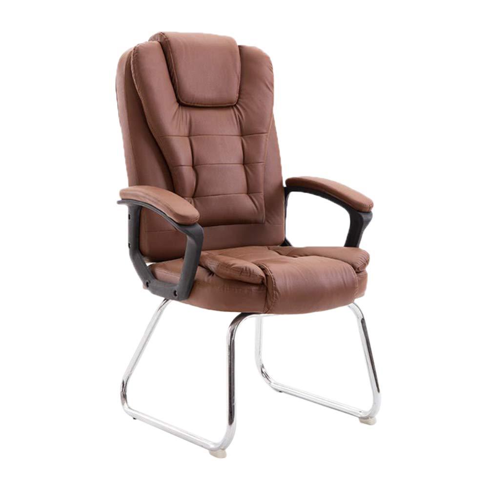 YGBオフィスチェアコンピュータチェアホームオフィスチェアボウレザーチェアスタッフ会議チェア学生寮の椅子麻雀チェア人間工学に基づいたデザインで固定アームレスト   B07QWPRT11