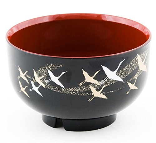 Japanese Traditional Style Crane Design Miso Soup Bowl High Gloss Lacquer Bowl Black and Red Finish Made in Japan (5