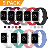 DOBSTFY Compatible Apple Watch Sport Band 38mm 42mm, Soft Silicone Replacement iWatch Bands Strap Sport Band Compatible Apple Watch Series 3 2 1 Nike+ Edition, S/M M/L, 9PACK, 38mm S/M