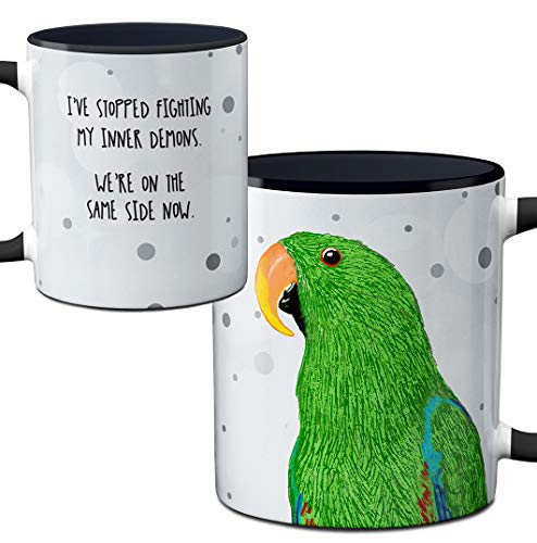 Large Parrot Mug - Parrot Demons Mug by Pithitude - One Single 11oz. Black Coffee Cup