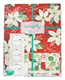 Wrappily Eco Gift Wrap Co.. - Reversible Wrapping Paper Poinsettia/Painterly - 6 Sheet(s)
