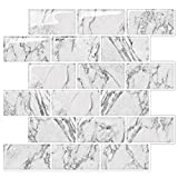 STICKGOO Marble Look Peel and Stick Backsplash Subway Tiles, Stick on Wall Tile for Kitchen&Shower Backsplash (Pack of 5, Thicker Design)