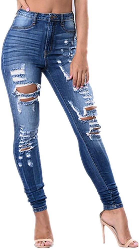 RISTHY Mujer Vaqueros Push Up Rotos Ocio Estilo Skinny Jeans De ...