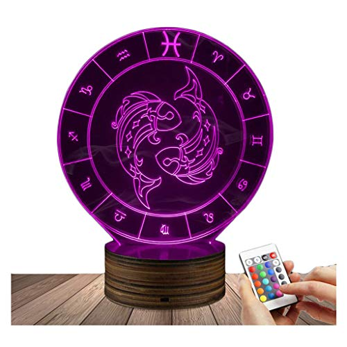 GRJ XYD 3D LED Lamp Pisces Optical Illusion Night Light, USB Powered Remote Control Changes The Color of The Light, for Kids Birthday