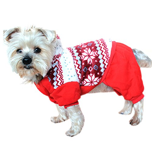Alfie Pet by Petoga Couture - Nova Hooded Jumper - Color: Red, Size: Small