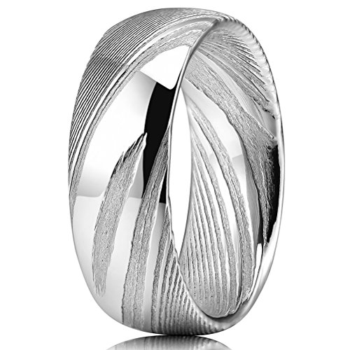 Three Keys Jewelry 8mm Damascus Steel Mens Wedding Ring Domed Wood Grain Bold Hand Forged Damascus Steel Wedding Band Engagement Ring Silver Size 11 Stainless Damascus Steel