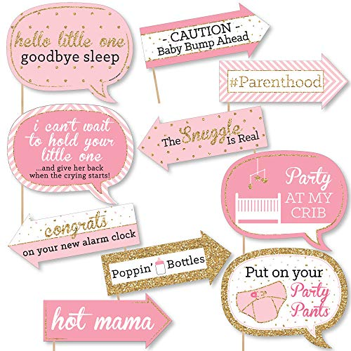 Baby Photo Booth Props (Big Dot of Happiness Funny Pink and Gold - Hello Little One - Girl Baby Shower Photo Booth Props Kit - 10)