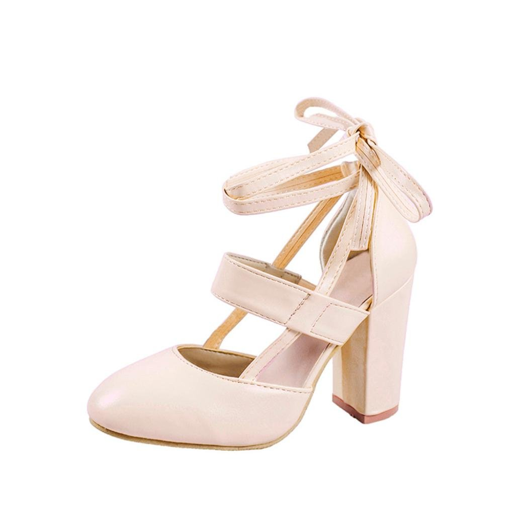 LtrottedJ Women's Fashion Heeled Sandals Ankle Strap Dress Sandals for Party Wedding (38, Beige)