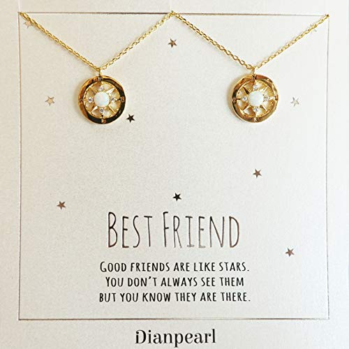 Opal Bar Necklace BFF Gift Long Distance Best Friend White Opal Necklace Friend Necklace October Birthstone Silver Friend Jewelry