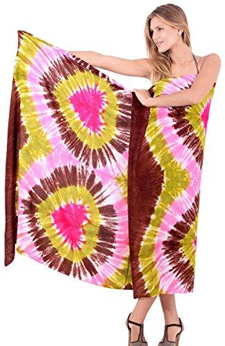 La Leela teñido anudado rayón suave mano encubrir corazones falda de la playa pareo 78x43 pulgadas Marrón Cacao