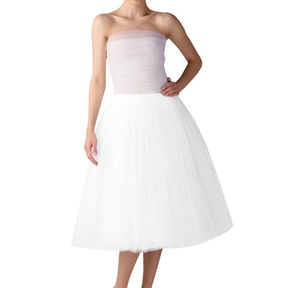 Wedding Planning Women's A Line Short Knee Length Tutu Tulle Prom Party Skirt XX-Large White