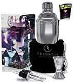 Cocktail Shaker Set - Professional Bartenders Kit in a Accessories Bag : Martini Drink Mixer Jigger 2 Liquor Pourers and ebook : 100 Bartender Recipes - Barware Tools & Bar Supplies by SHIKSHOOK