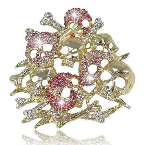 (EVER FAITH Women's Austrian Crystal Vintage Style Halloween Lots Skull Bone Brooch Pink Gold-Tone)