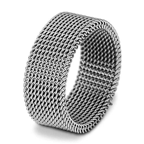 (Beauty-OU Rose Gold Circle Woven Mesh Rings for Women Men Jewelry Stainless Steel Wedding Rings for Friends Gift,12,Silver)