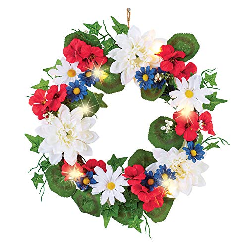 (Collections Etc Lighted Patriotic Blossoms Wreath - Festive Fourth of July or Memorial Day Decorative)