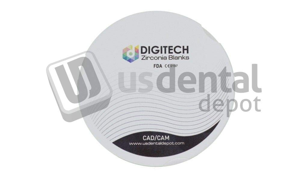 DIGITECH - ST PRE A1 Dental Zirconia Block Super Translucent - ZZ 95mm x 14mm - 1 Block per Box [ PRESHADED ] - for ZirkonZahn 124527
