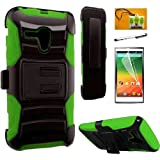 Pop Star 2 A521L / Nova LTE A520L (Straighttalk), LF 4 in 1 Bundle, Hybrid Armor Stand Case with Holster and Locking Belt Clip, Stylus Pen, Screen Protector & Wiper Accessory (Holster Green)