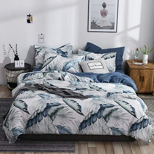 VM VOUGEMARKET Botanical Duvet Cover Set, Premium Cotton Bedding,Tropical Blue Plant Tree Leaves Pattern Printed,Navy Blue on Reverse, Zipper Closure (3pcs, Queen Size)