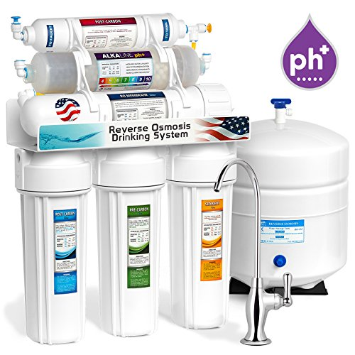 Express Water ROALK5D 10-Stage Alkaline Reverse Osmosis Home Drinking Water Filtration System with 5 Stage Alkaline Mineral pH+ Antioxidant Remineralization Filter - 50 GPD
