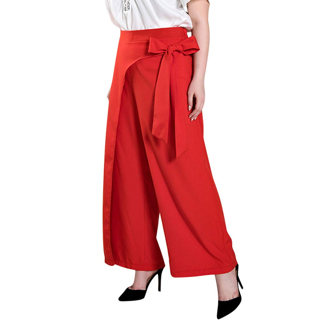 Armfre Bottom Women's Wide Leg Pants Elastic Waist Bow Palazzo Pant Loose Lighweight Flowing Cropped Pant Lounge Trousers for Casual Work Party by Armfre Bottom