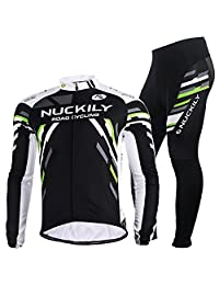NUCKILY Men's Bicycle Suit Winter Thermal Cycling Jacket Tights Set