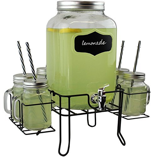pakkon 8 piece mason jar drink dispenser set with stand 2 gallon glass beverage dispenser with spigot and metal lid 6 glass mason jars with handles and - Beverage Dispensers
