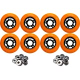 OUTDOOR Inline Skate Wheels 76MM 89a ORANGE x8 W/ ABEC 9 BEARINGS