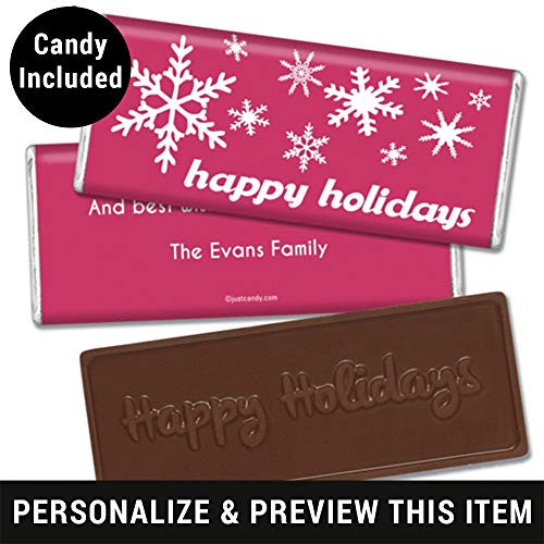 Happy Holidays Personalized Embossed Chocolate Bar (Fully Assembled) Holiday Snowflakes (12 Count) Blush