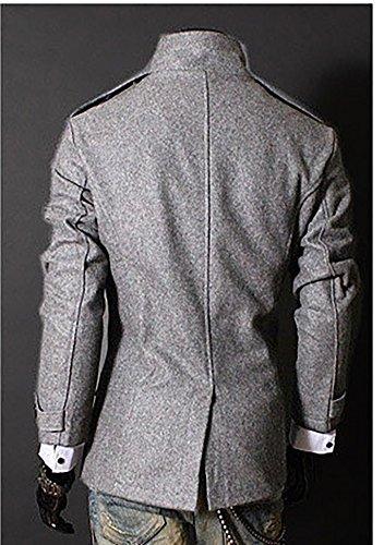 Cappotto Petto Uomo Moda Classico Fit Doppio Slim Giacche Trench Vintage Grigio UqUfw7Tn