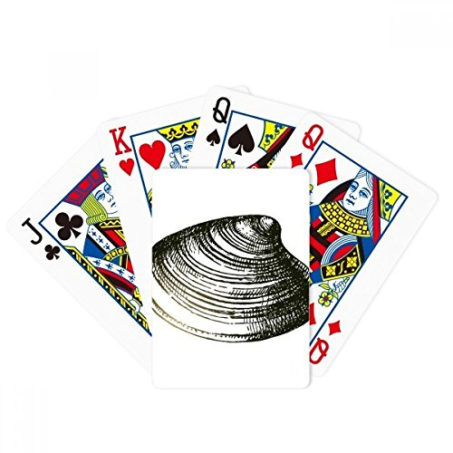 Black Marine Life Scallop Illustration Poker Playing Card Tabletop Board Game Gift by beatChong