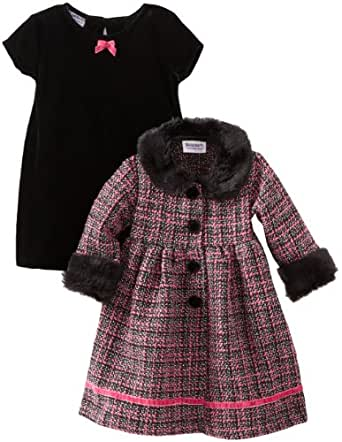 Blueberi Boulevard Baby Girls' Boucle Coat Velvet Set, Multi, 18 Months