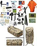 1 Person Supply 5 Day Emergency Bug Out SOS Food Rations, Drinking Water, LifeStraw Personal Filter, First Aid Kit, Tent, Blanket, ACU Duffel Bag, Orange Poncho + Essential 21 Piece Survival Gear Set
