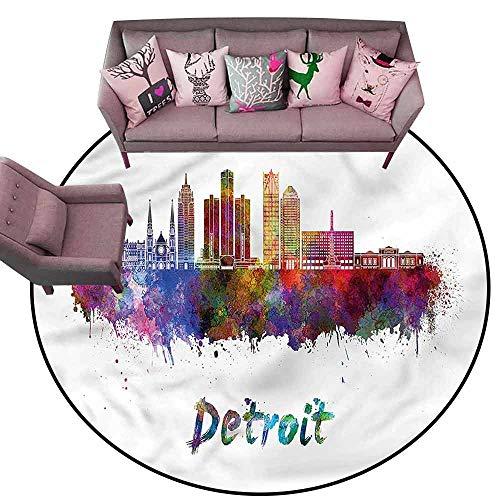 Floor mats for Kids Detroit,Watercolor Art Skyline Diameter 48