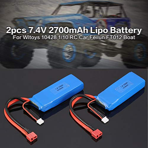 Surobayuusaku 2pcs 7.4V 2700mAh 20C 2S Lipo Battery with T Plug For Wltoys 10428-A 10428-B 10428-B2 10428 1//10 RC Crawler Car