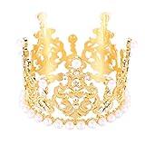 HAIQILIN Cake Topper Rhinestone Mini Crown Tiara Princess Crown Gold