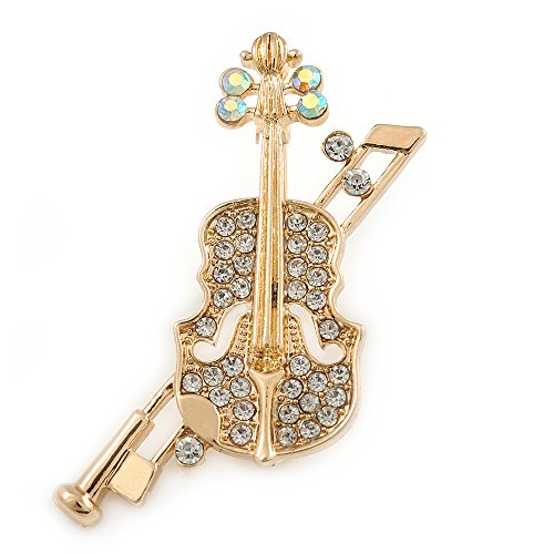 Avalaya Clear/AB Crystal Violin Brooch in Gold Tone Metal - 45mm L