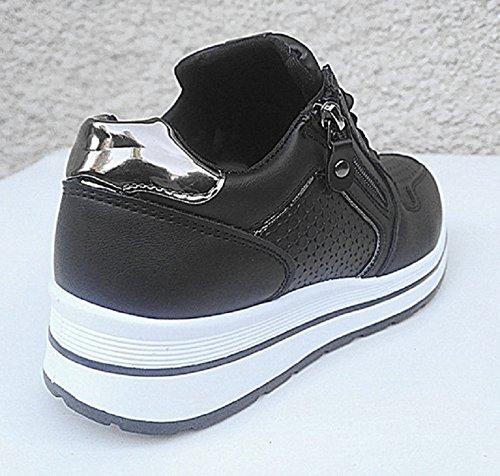 fashionfolie Femme Basket Compensée BI-Matière Sporty Matelassé Brillant Sneakers Basses Fille BF-1 Noir