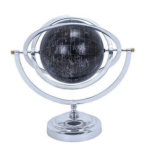 Deco 79 Metal Globe with White Mapping on Matte Black Background - World Clock Tray